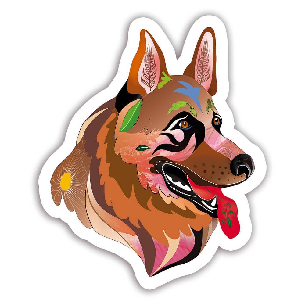 German Shepherd Fusion Colorful : Gift Sticker Dog Pet Animal CuteWatercolor