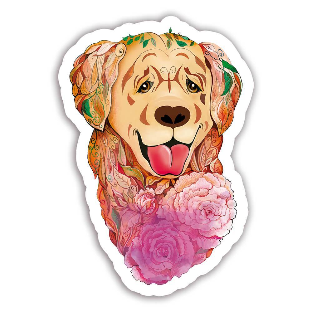Golden Retriever Fusion Colorful : Gift Sticker Dog Pet Animal CuteWatercolor