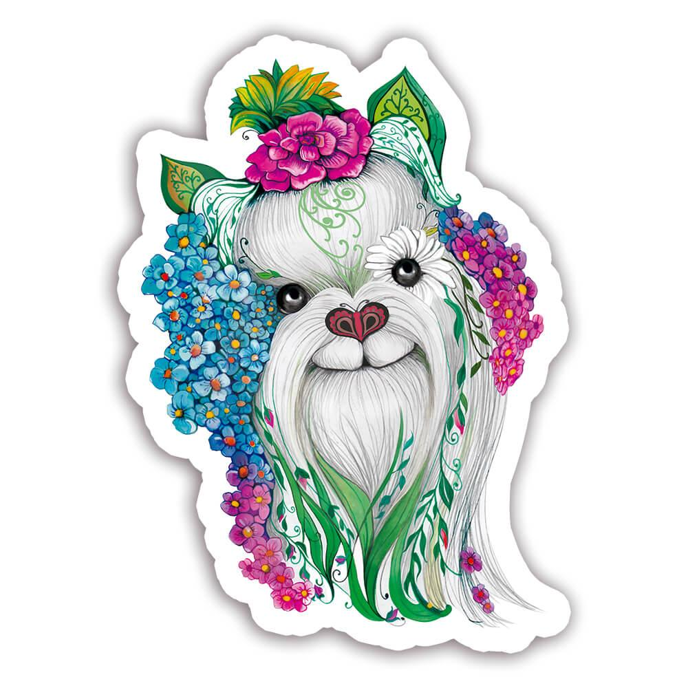 Yorkshire Fusion Colorful : Gift Sticker Dog Pet Animal CuteWatercolor Flowers