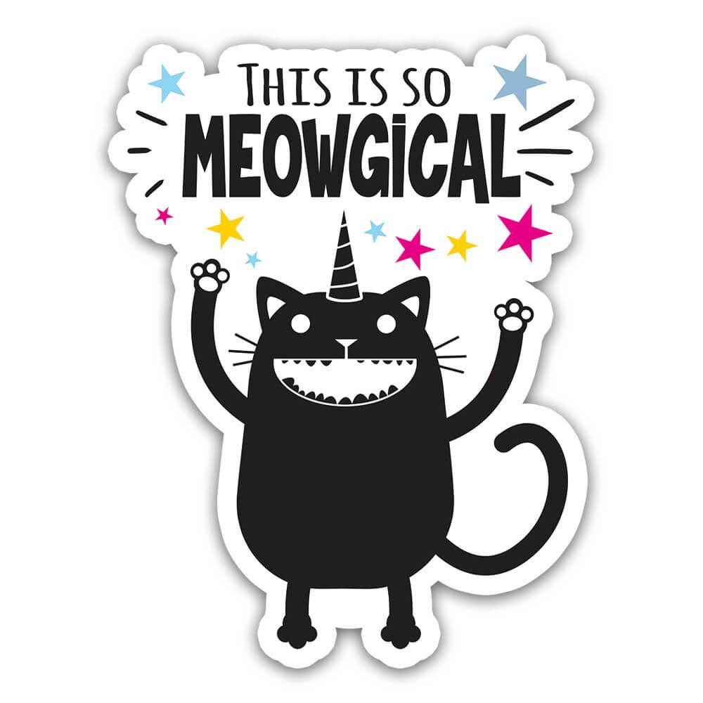 Funny Cat Unicorn Magical Cute Wall Art Print : Gift Sticker For Coworker Friend Animal