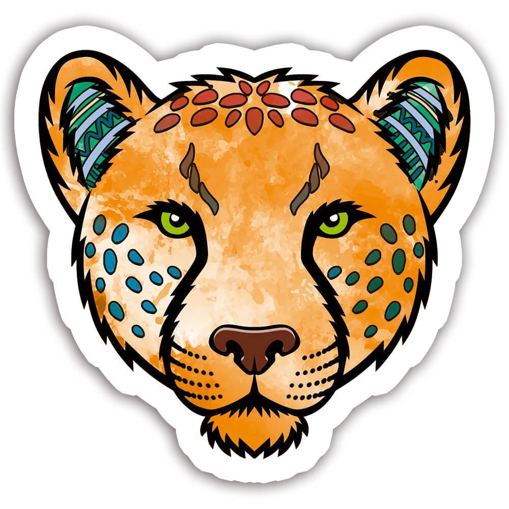 Jaguar Colorful Tribal : Gift Sticker Wild Animals Wildlife Fauna Safari Species Nature