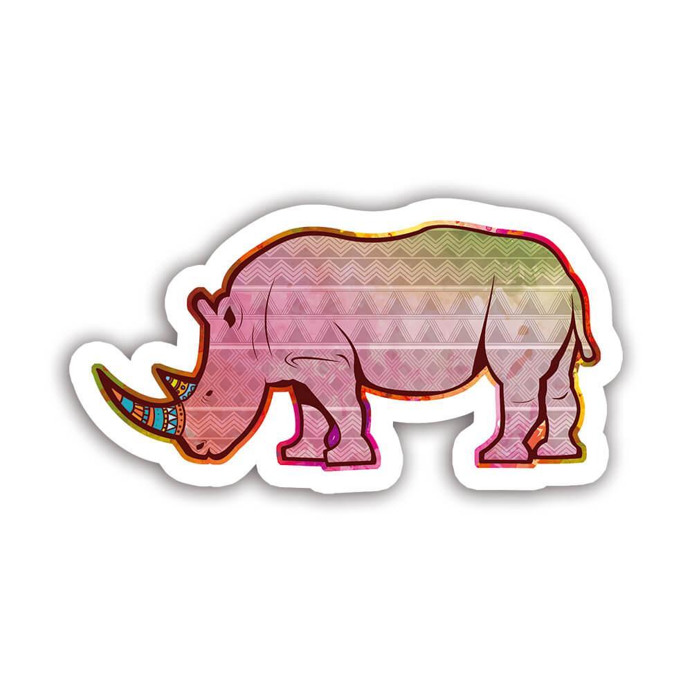 Rhino Colorful Tribal : Gift Sticker Wild Animals Wildlife Fauna Safari Species Nature