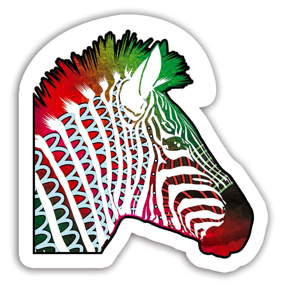 Zebra Colorful Tribal : Gift Sticker Wild Animals Wildlife Fauna Safari Species Nature