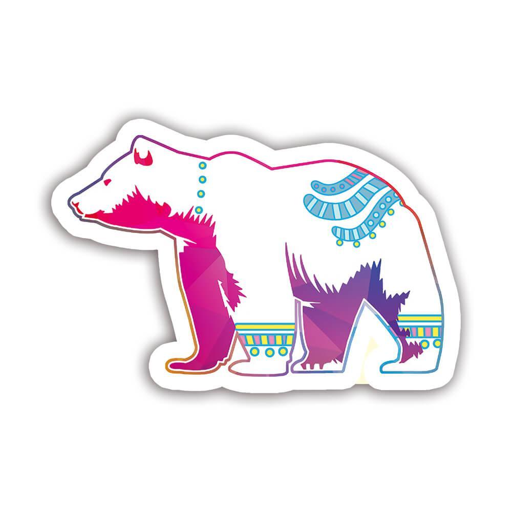 Polar Bear Colorful Tribal : Gift Sticker Wild Animals Wildlife Fauna Safari Species Nature