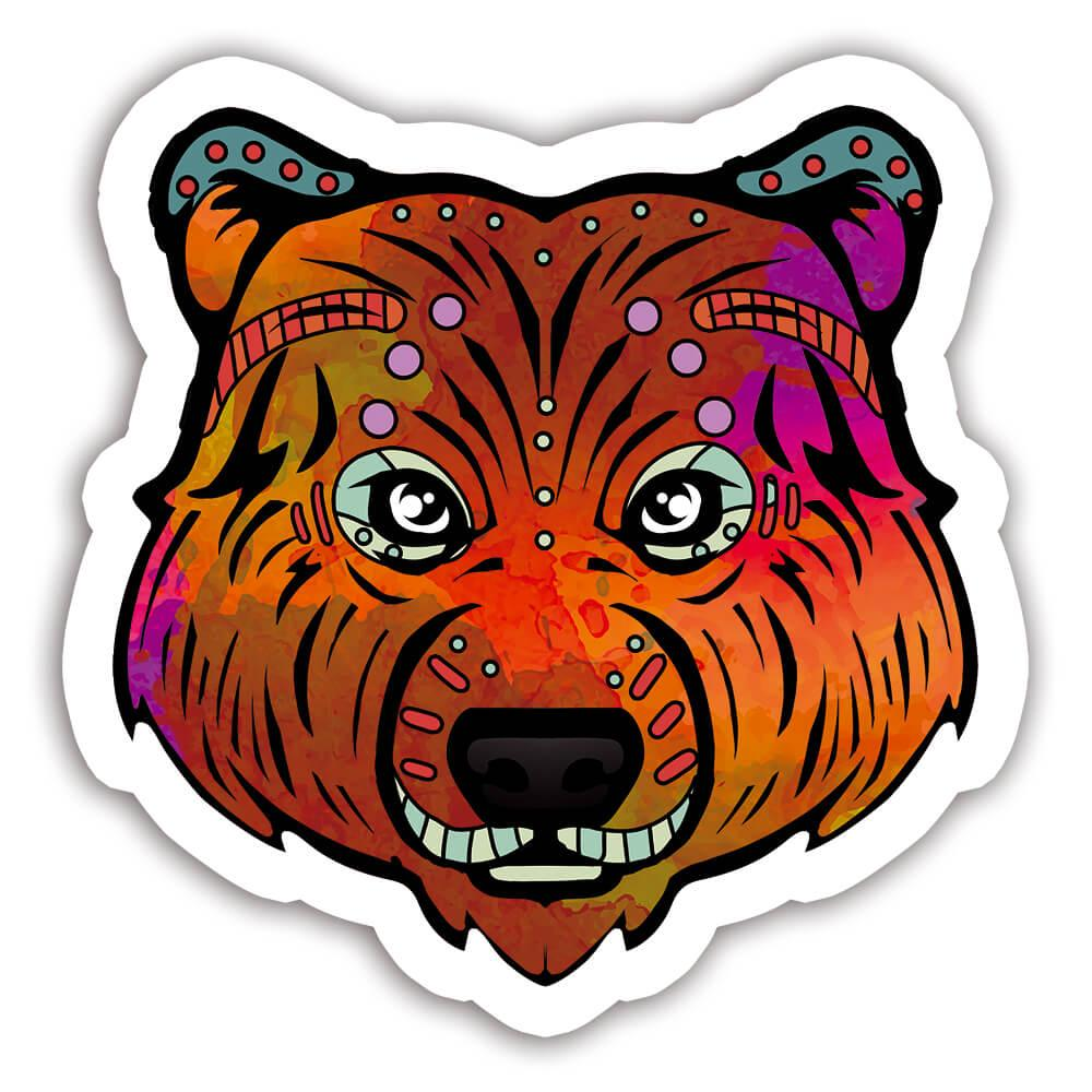 Bear Colorful Tribal : Gift Sticker Wild Animals Wildlife Fauna Safari Species Nature