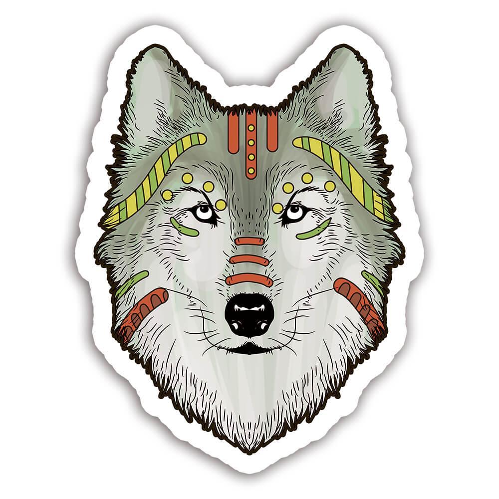 Wolf Colorful Tribal : Gift Sticker Wild Animals Wildlife Fauna Safari Species Nature