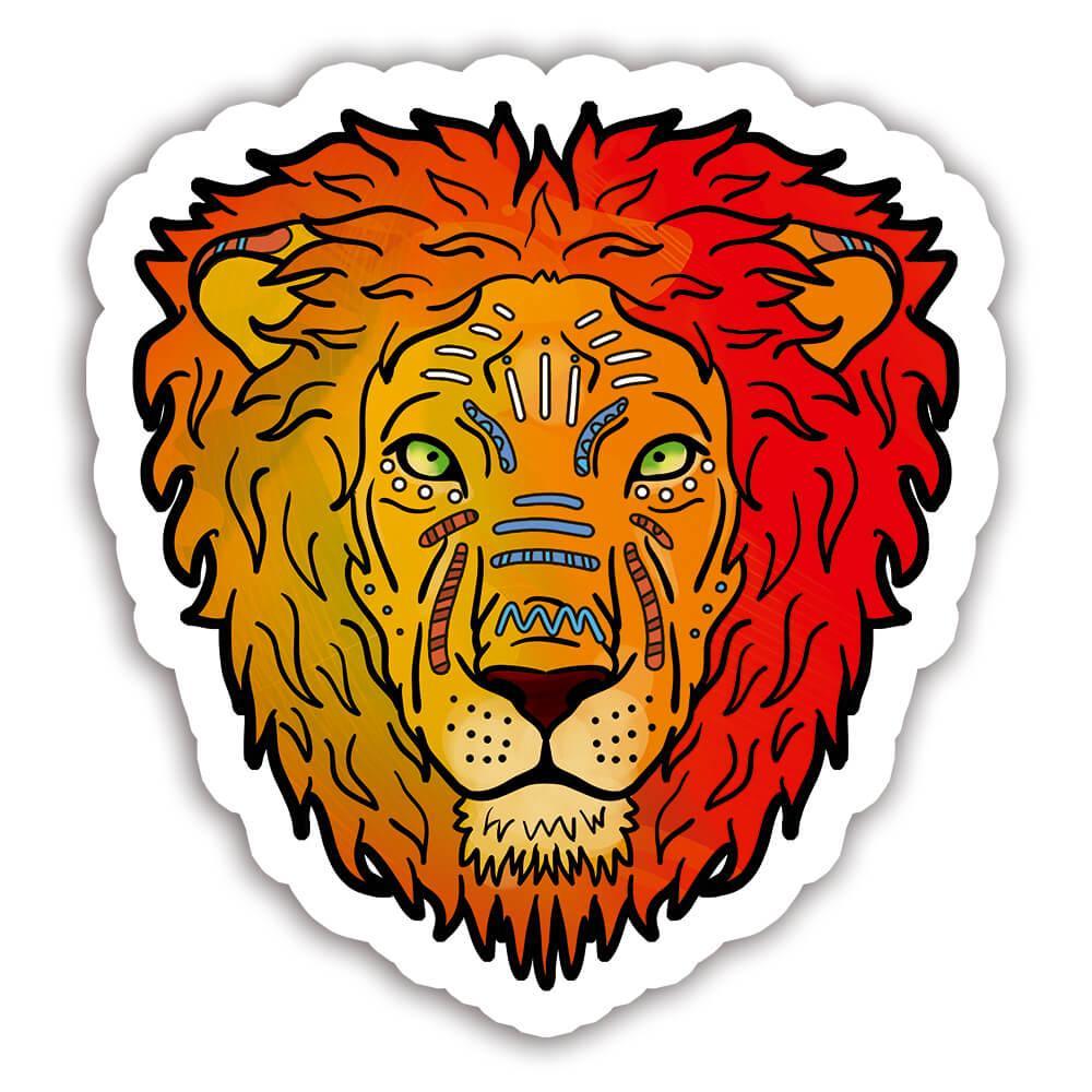 Lion Colorful Tribal : Gift Sticker Wild Animals Wildlife Fauna Safari Species Nature