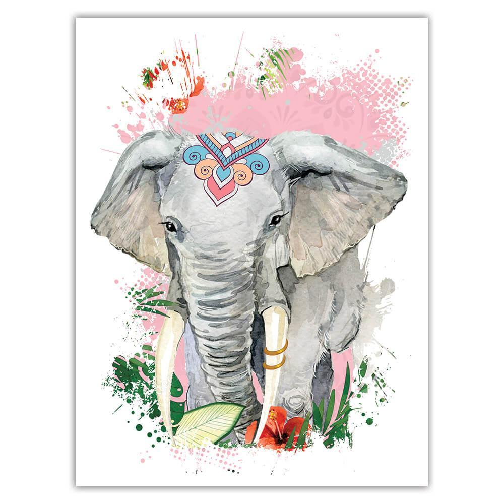 Elephant Flowers Tribal : Gift Sticker Wild Animals Wildlife Fauna Safari Species