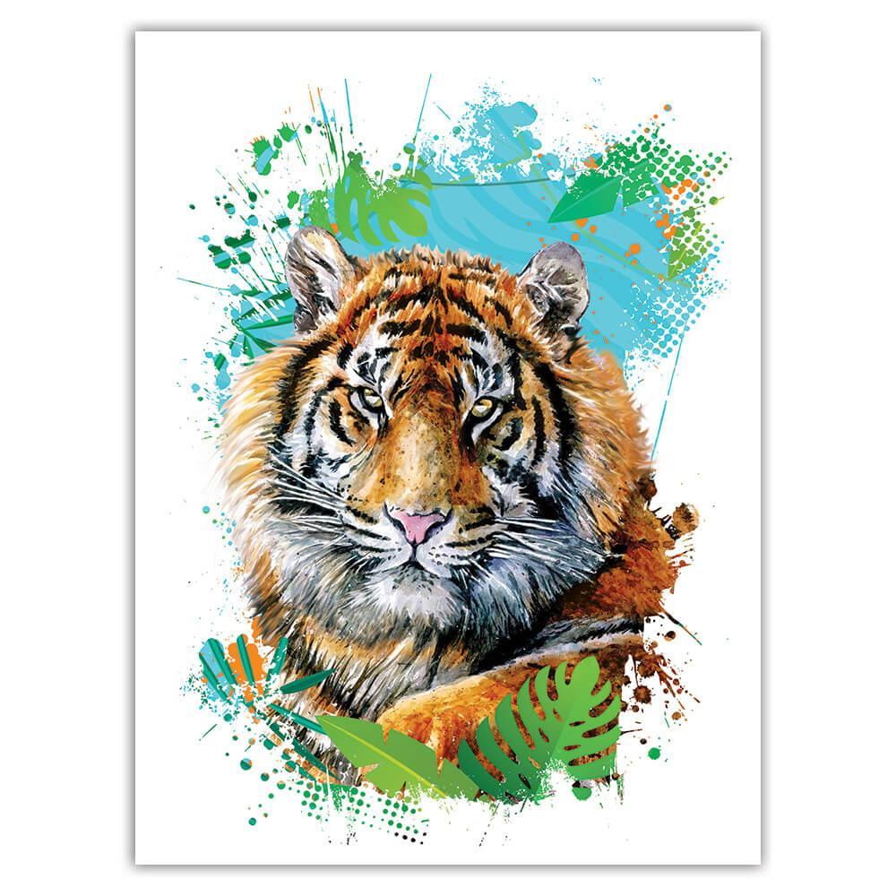 Tiger Leaves : Gift Sticker Wild Animals Wildlife Fauna Safari Species