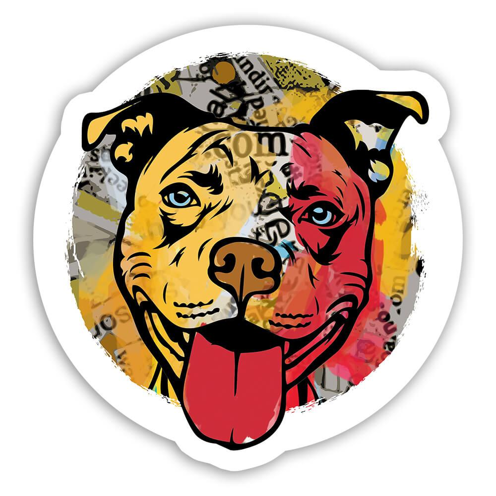Pitbull Collage : Gift Sticker Urban Artistic Art Patchwork Pencil Sketch Dog Dogs