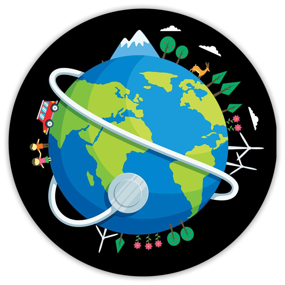 Plastic Free Earth Globe Eco Friendly : Gift Sticker Kids Nature Lover Climate Change