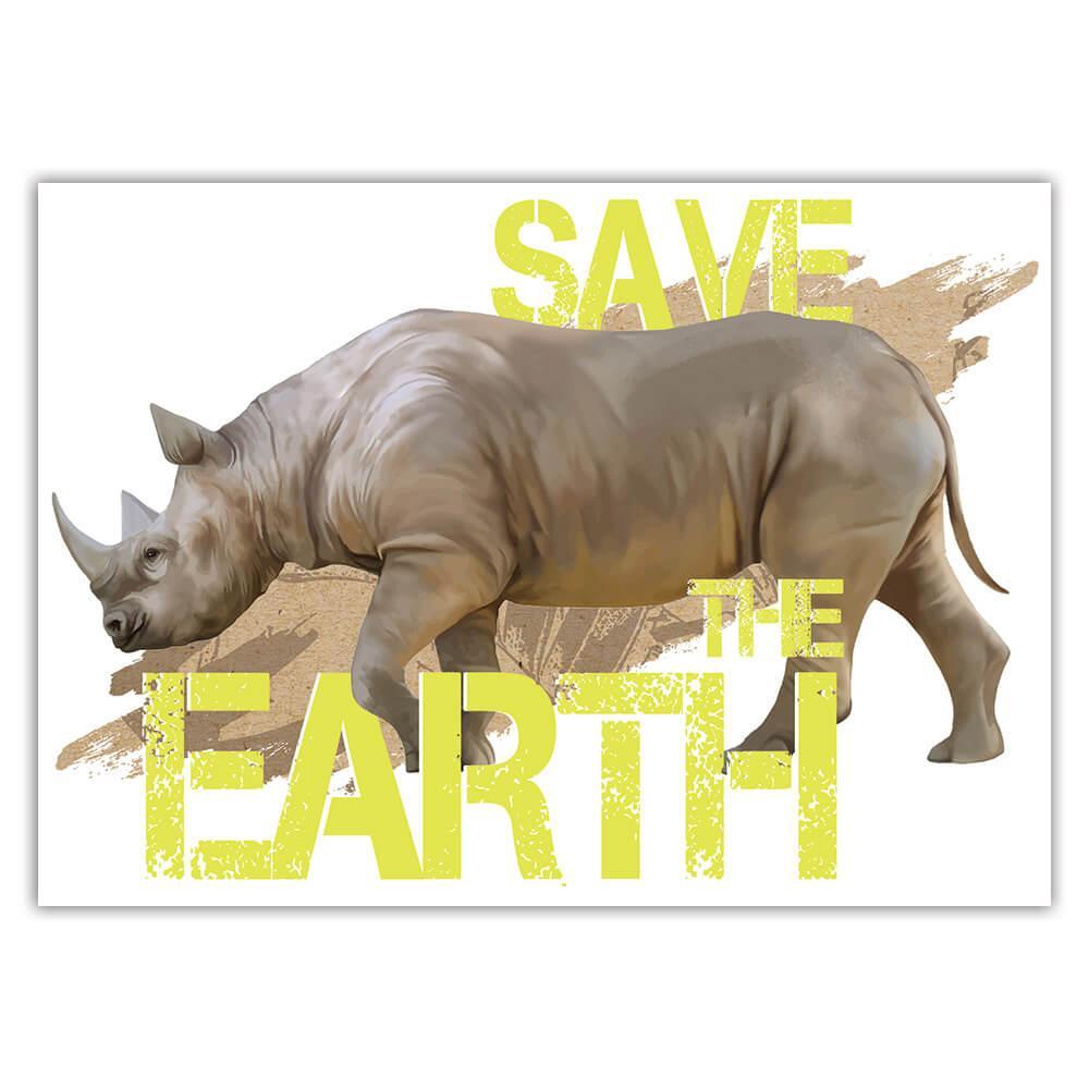 Rhino Nature Eco Ecology : Gift Sticker Wild Animals Wildlife Fauna Safari Species Ecological