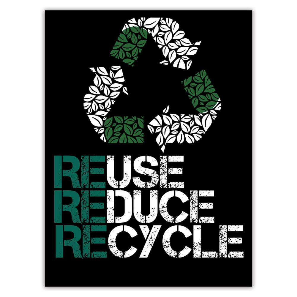 Eco Reuse Reduce Recycle : Gift Sticker Sign Plants Kraft Paper Environment Ecology