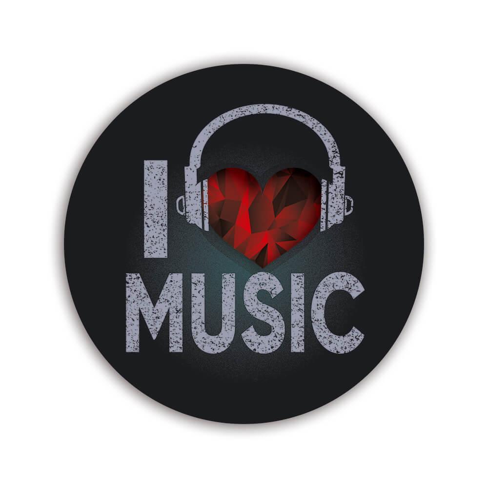 Diamond Heart I Love Music Headphones Wall Print : Gift Sticker Teens Musical Card