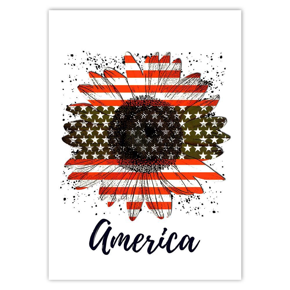Sunflower American Flag : Gift Sticker Flower Floral Yellow Decor Patriotic