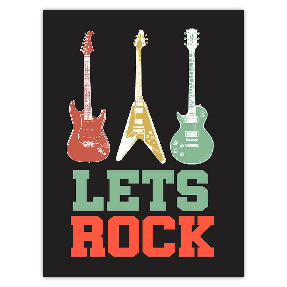Lets Rock Guitars Retro Wall Art Print Music Lover : Gift Sticker Room Decor Musician