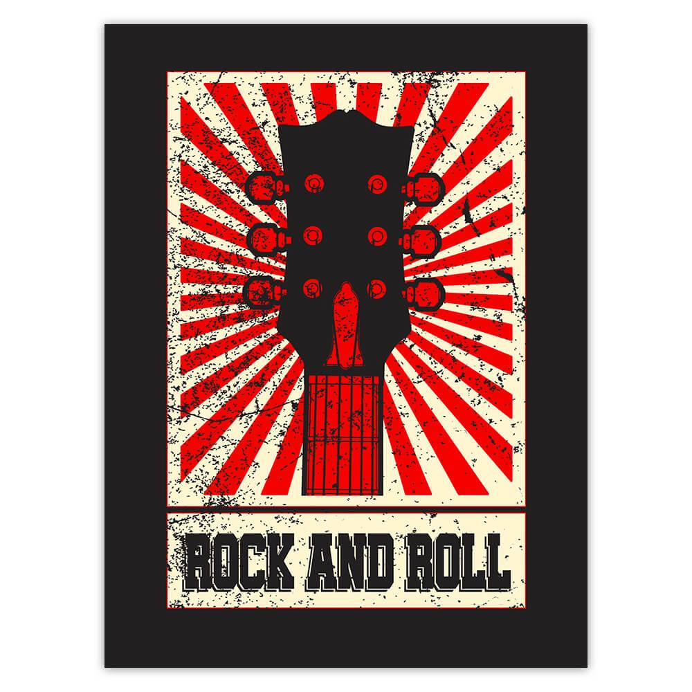 Rock And Roll Retro Wall Art Poster Guitar Rays : Gift Sticker Vintage Print Musician