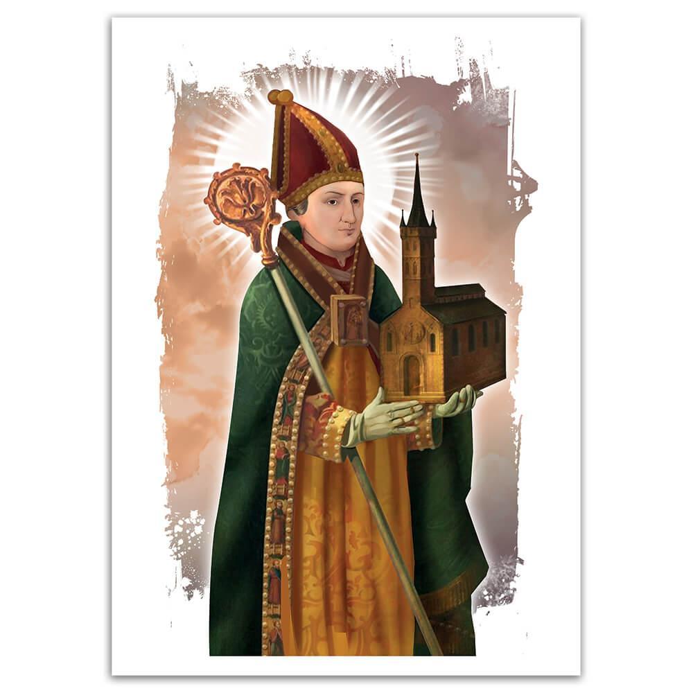 Saint Ansgar : Gift Sticker Catholic Church Sao Oscar Religious Christian Faith Cathedral
