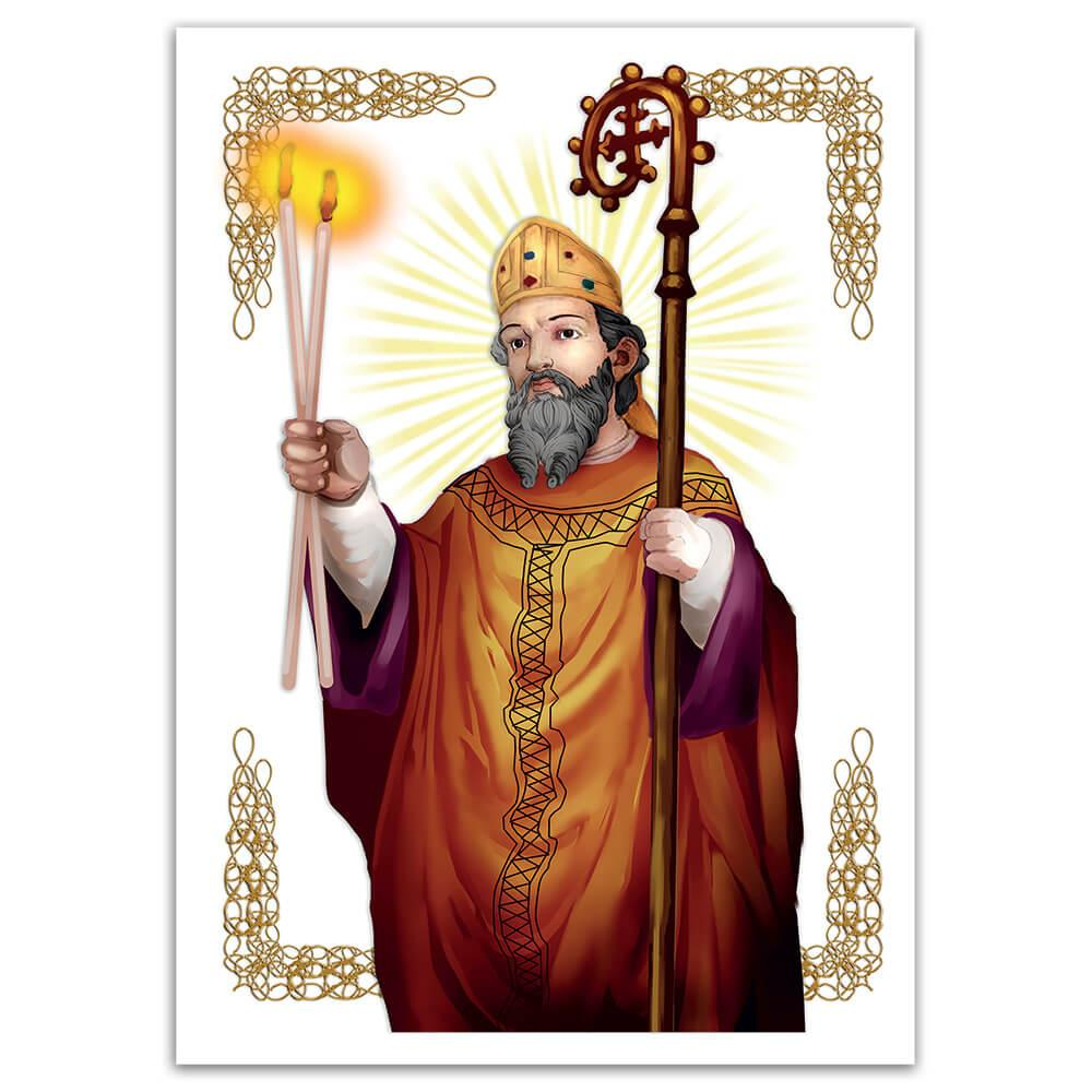 Saint Blaise : Gift Sticker Catholic Religious Candles Arabesque Christian Sao Bras