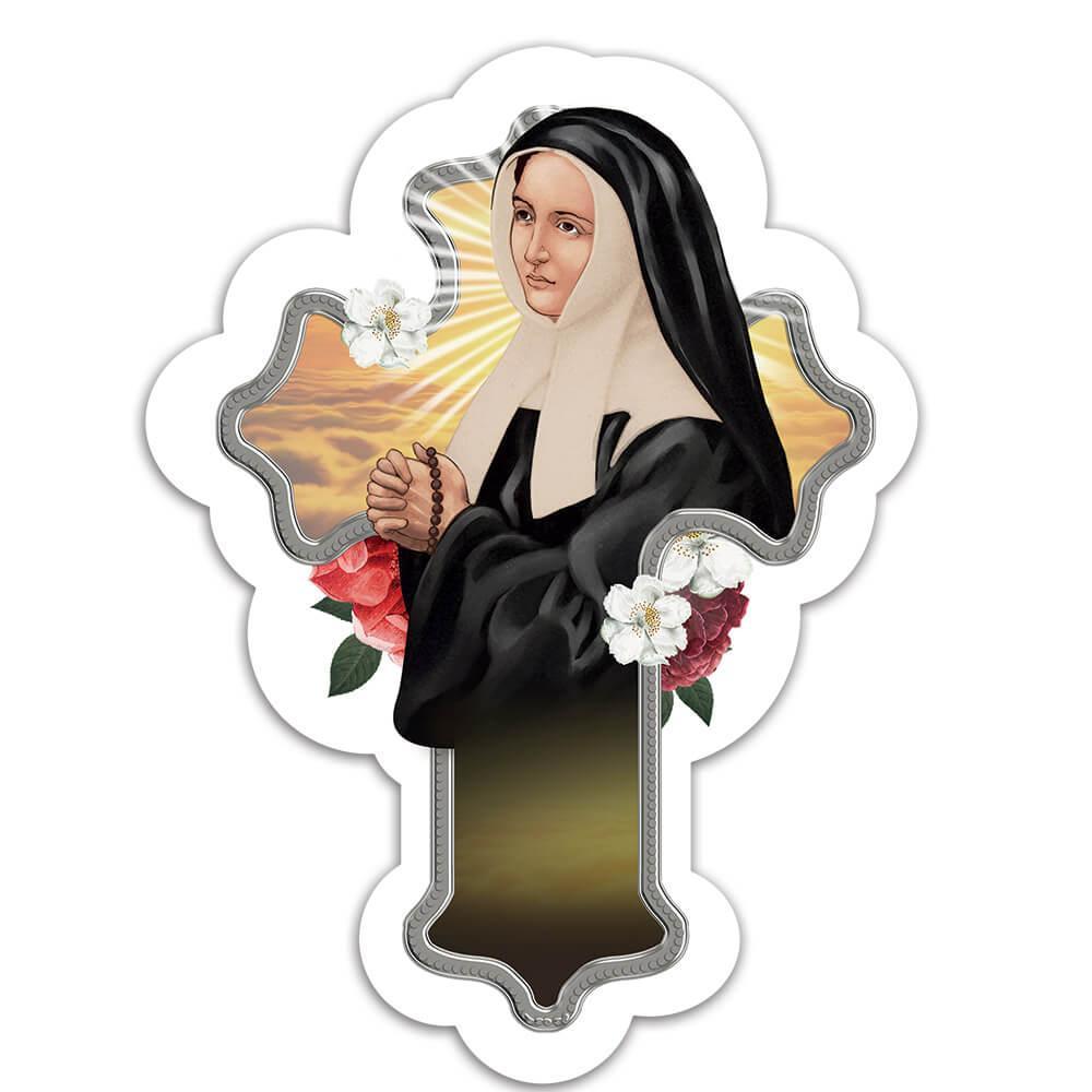 Saint Bernadette Soubirous : Gift Sticker Catholic Lourdes Church Religious Cross Decor