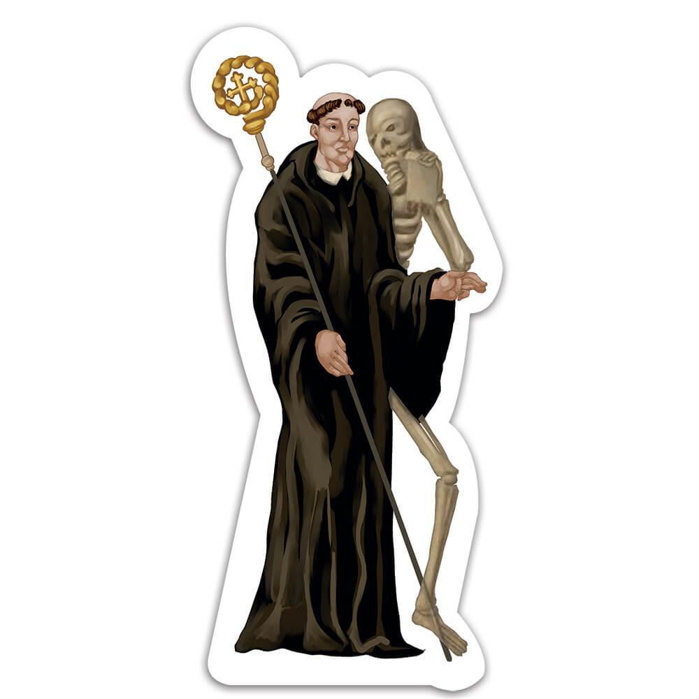 Saint Fridolin Of Sackingen : Gift Sticker Catholic Irish Religious Skeleton Christian Apostle