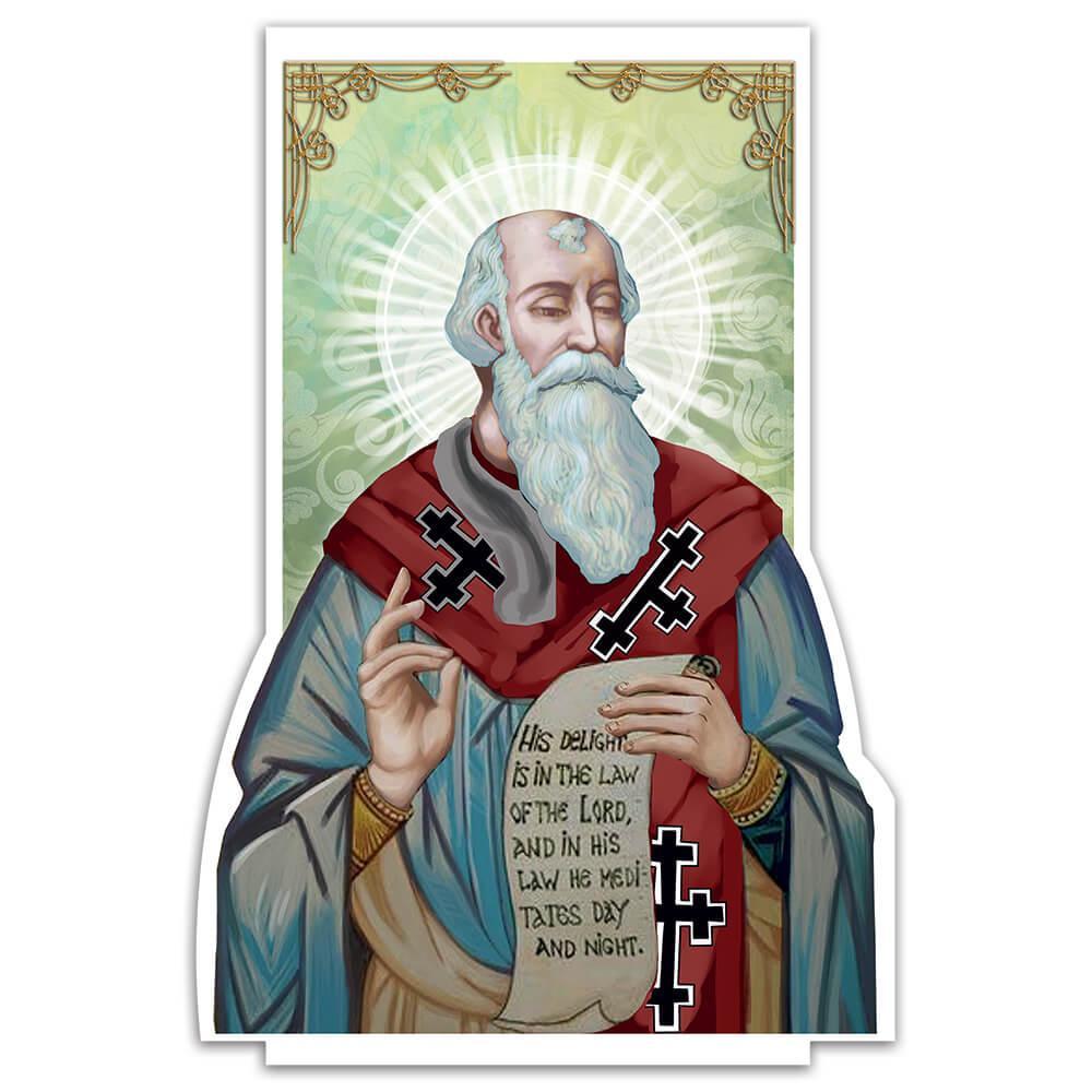 Saint David Of Wales : Gift Sticker Catholic Church Cross Faith Religious Christian
