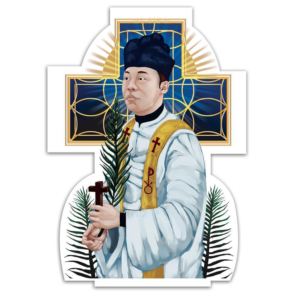 Saint Andrew Dung Lac : Gift Sticker Vietnamese Catholic Priest Christian Religious Palm