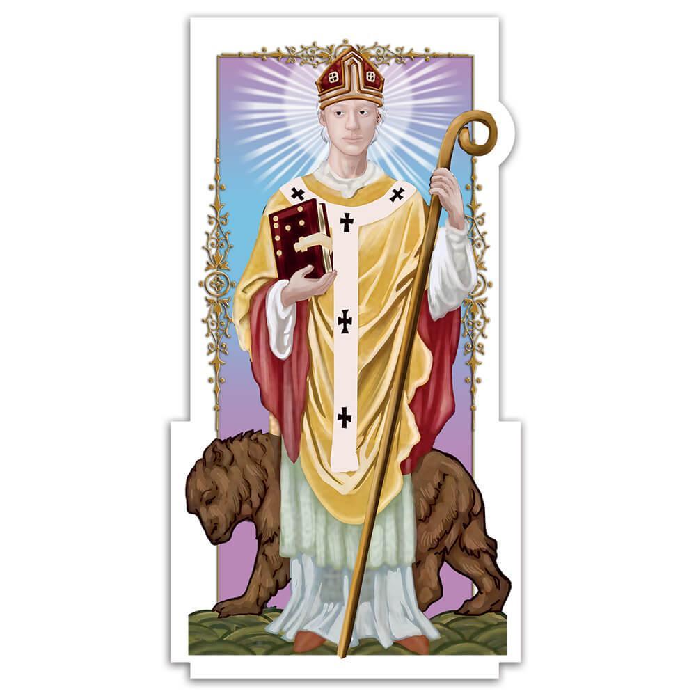 Saint Corbinian : Gift Sticker Catholic Bear Book Christian Church Religious Wall Poster