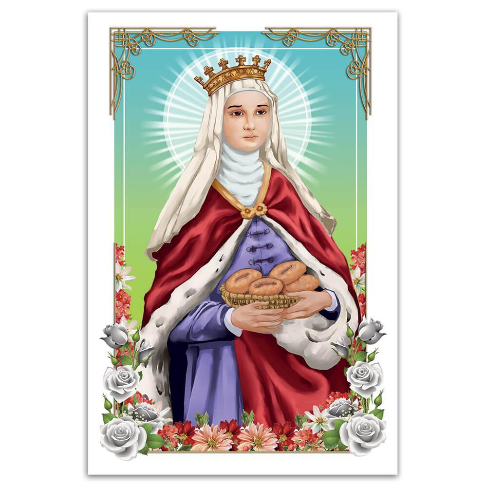 Saint Elizabeth Of Hungary : Gift Sticker Catholic Church Food Basket Roses Christian