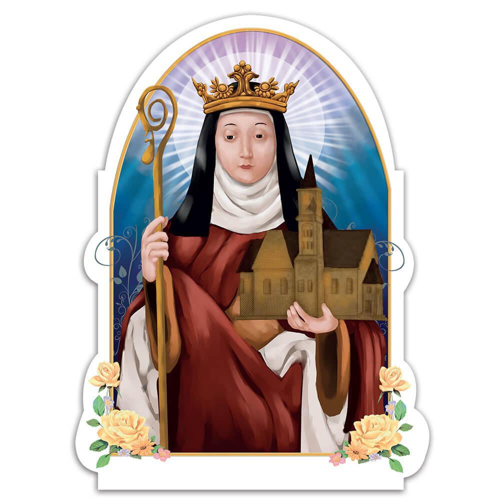Saint Hilda : Gift Sticker Of Whitby Catholic Church Christian Religious Crozier Crown