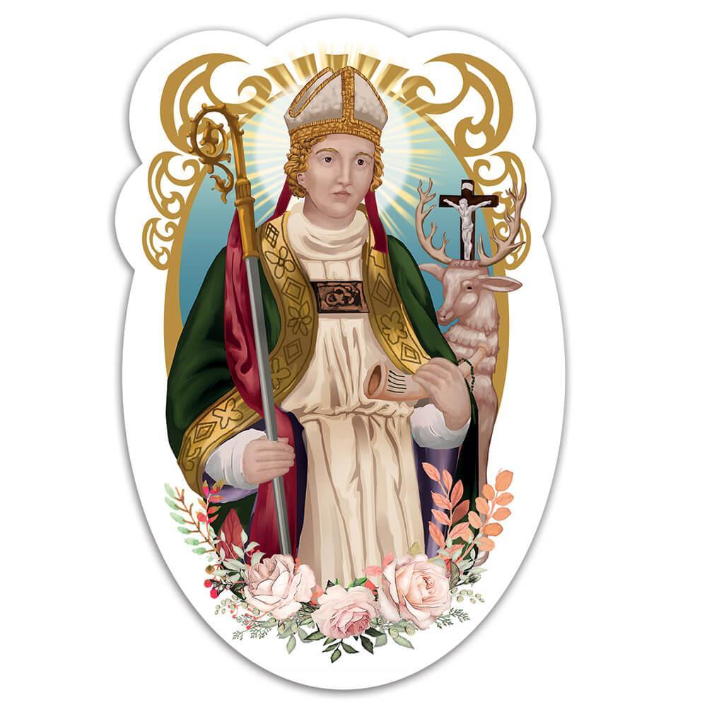 Saint Hubert Of Liege : Gift Sticker Catholic Church Hunters Protector Deer Christian Faith