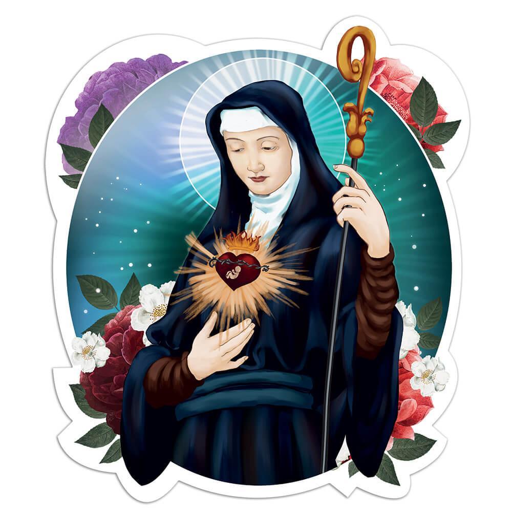 Saint Mechtild : Gift Sticker Catholic Church Sacred Heart Crozier Flowers Christian Faith