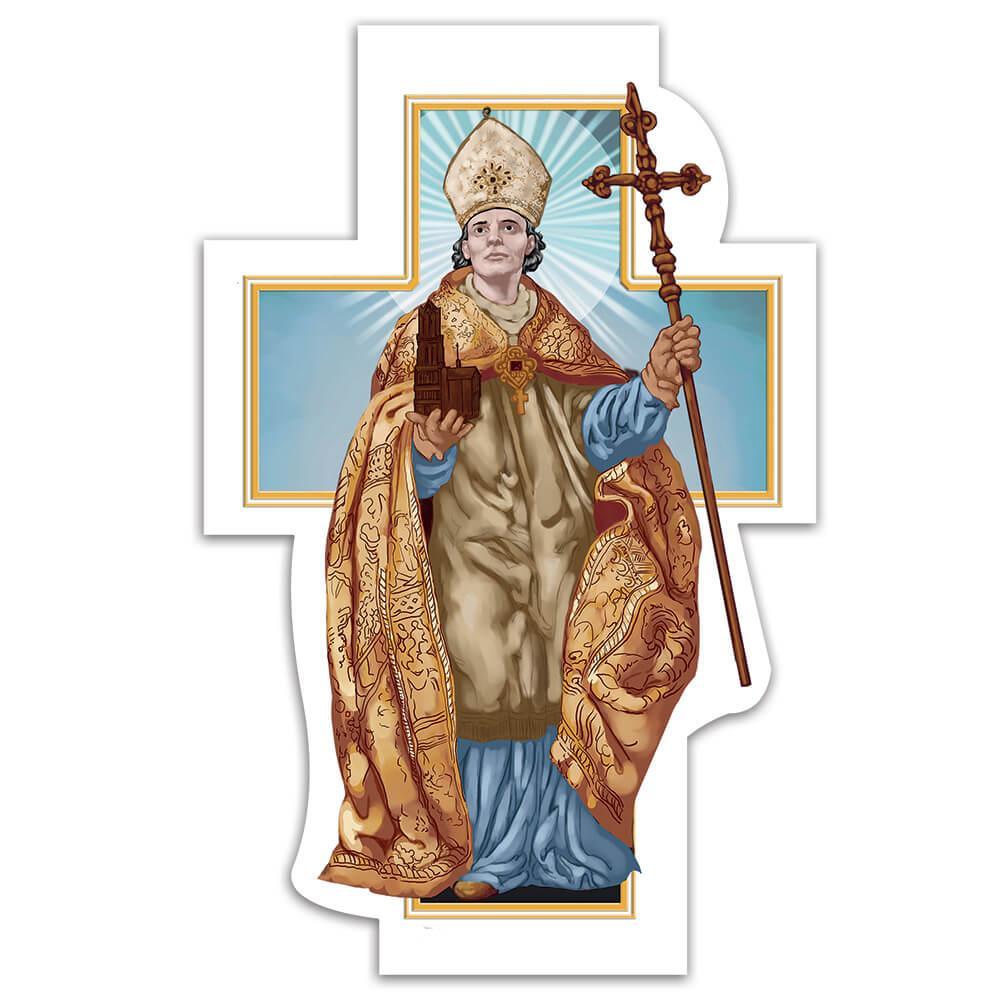 Saint Willibrord : Gift Sticker Catholic Church Anglican Staff Cross Christian Religious