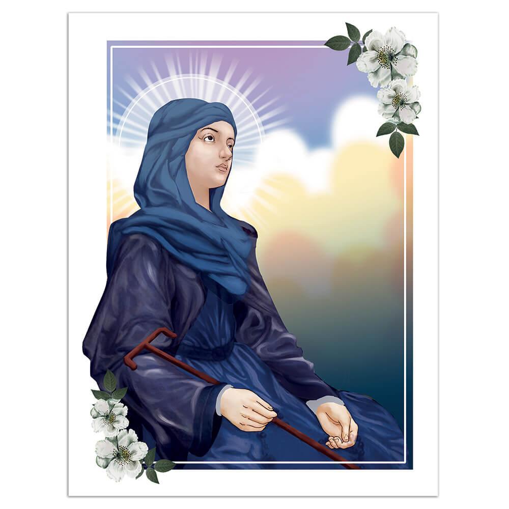 Saint Winefride : Gift Sticker Catholic Church Christian Religion Flower Welsh Staff