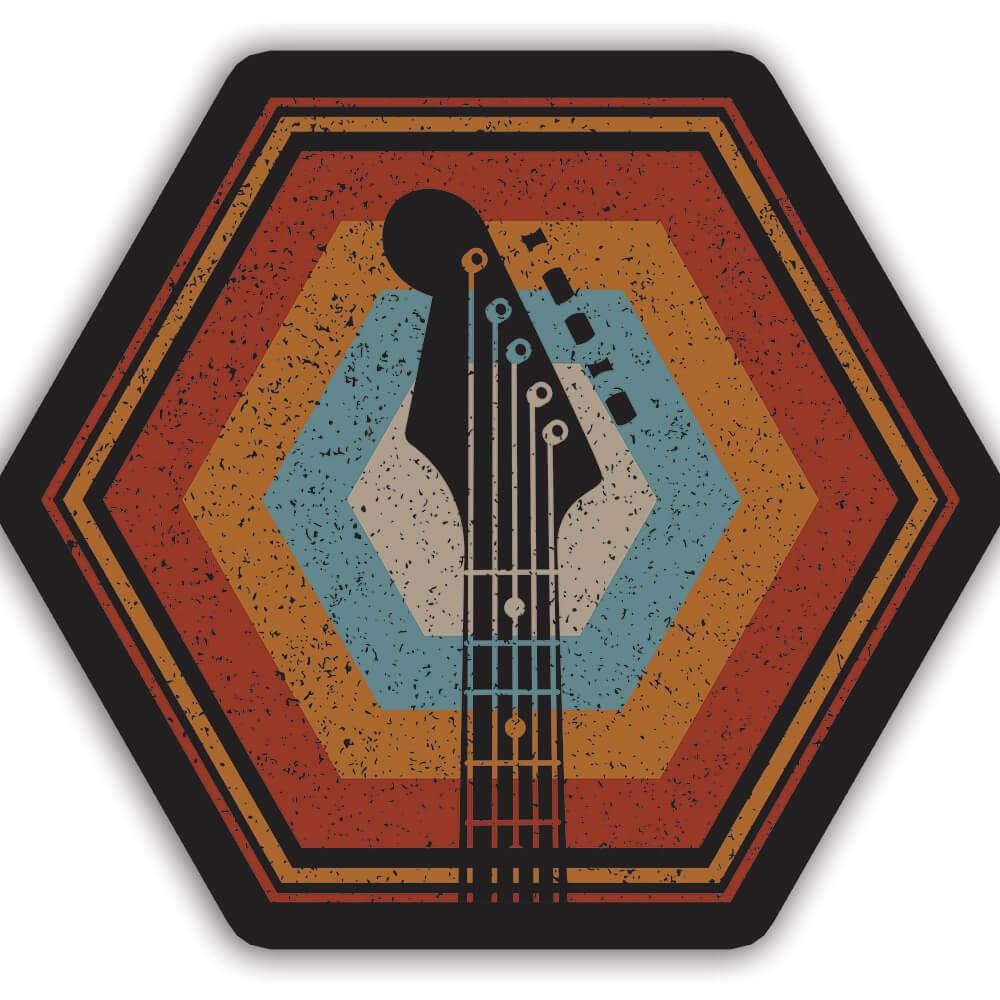 Guitar Colorful Retro Hexagon Music Wall Art Print : Gift Sticker Rock And Roll Lover