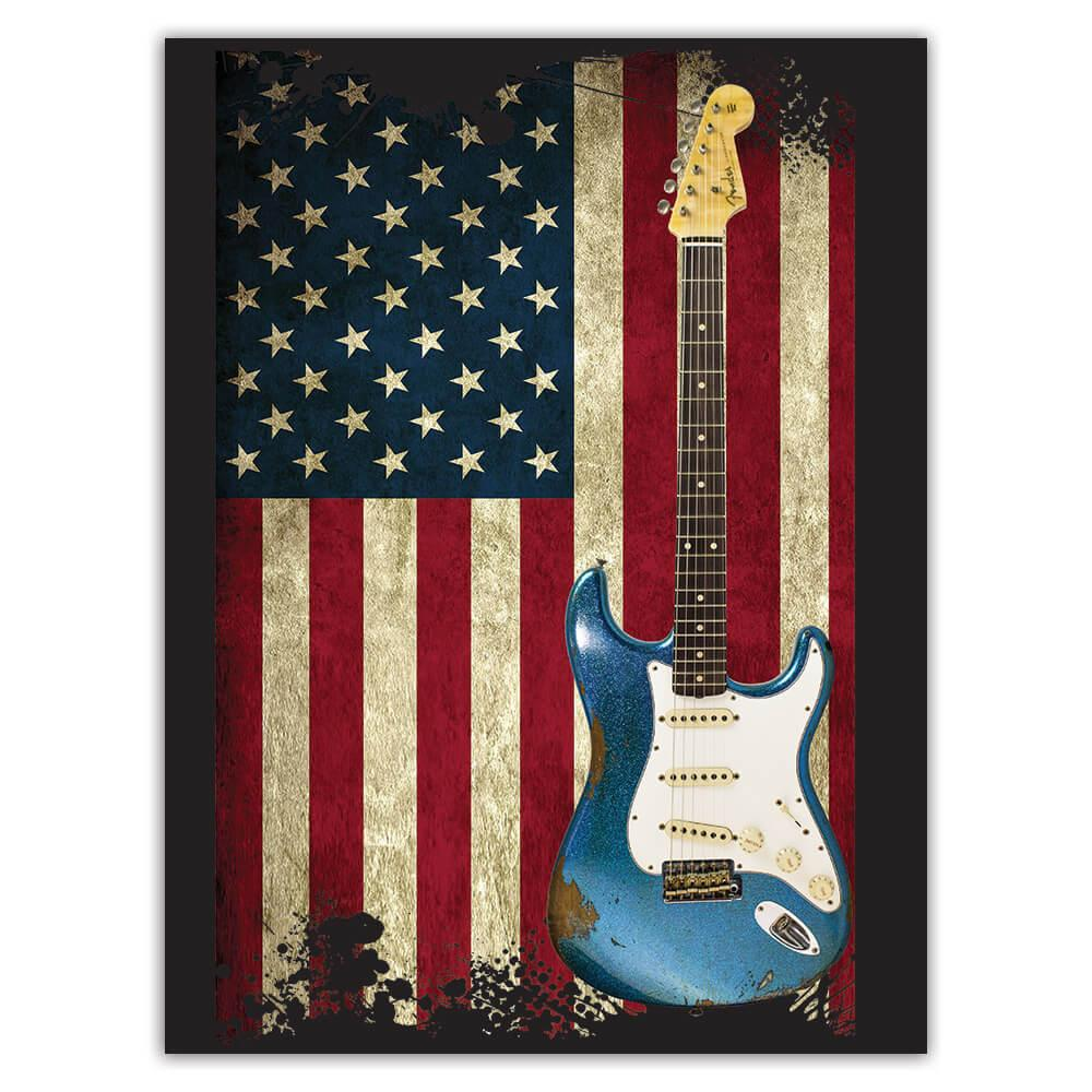 Vintage Rock Guitar Music Wall Art USA : Gift Sticker American Flag Patriotic Home Poster