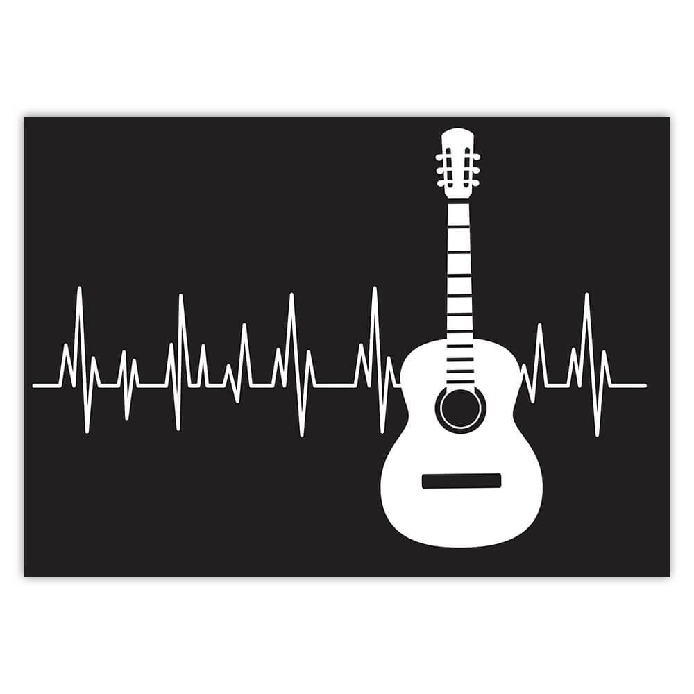Classic Guitar Life Line Music Wall Art Print : Gift Sticker Black And White Poster Decor