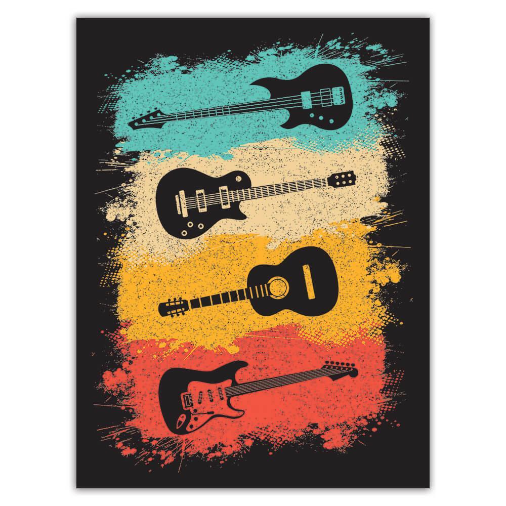 Music Wall Art Retro Print Guitars Rock Lovers : Gift Sticker Card Room Poster Teenager