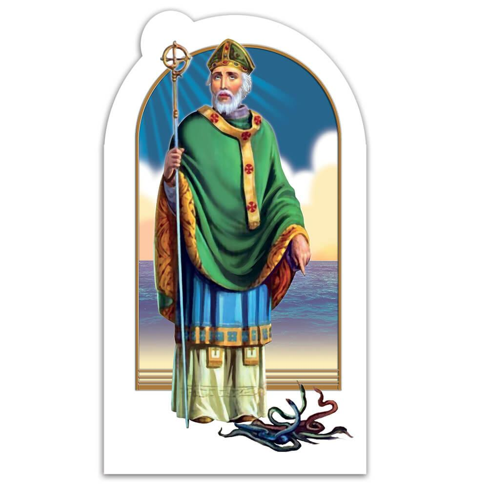 Saint Patrick : Gift Sticker Catholic Church Irish Apostle Ireland Religious Staff Snakes
