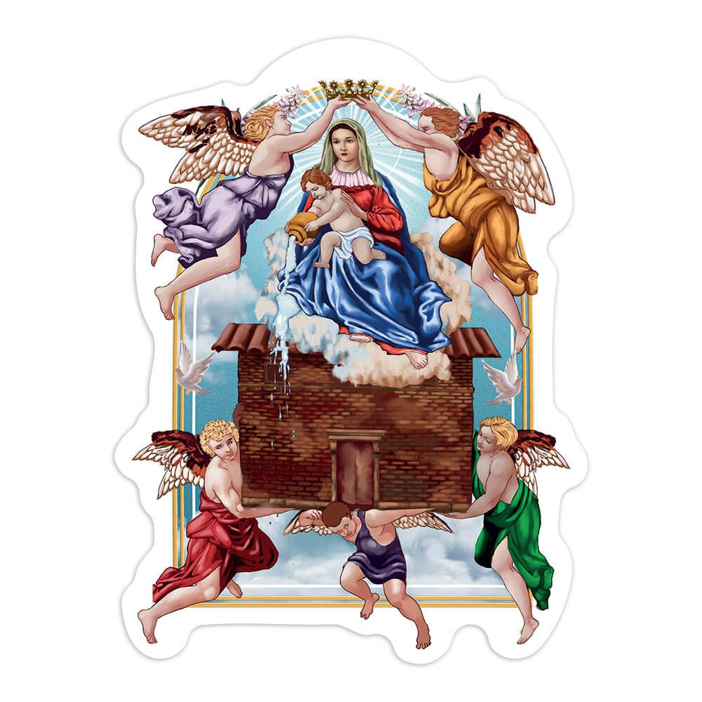 Our Lady Of Loreto : Gift Sticker Virgin Mary Saint Catholic Mother Baby Jesus Angels