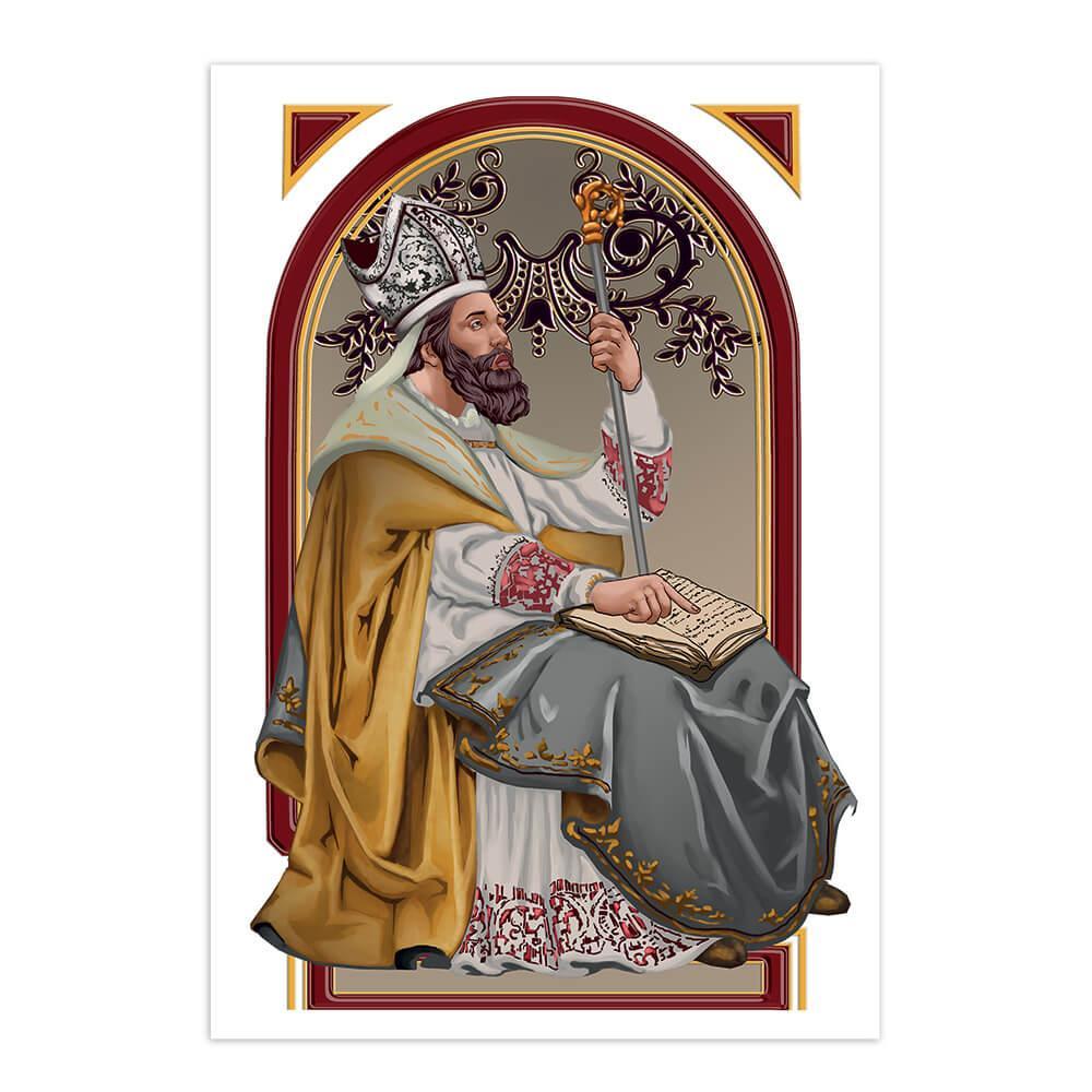 Saint Ambrose : Gift Sticker Catholic Bishop Church Milan Christian Religious Bible