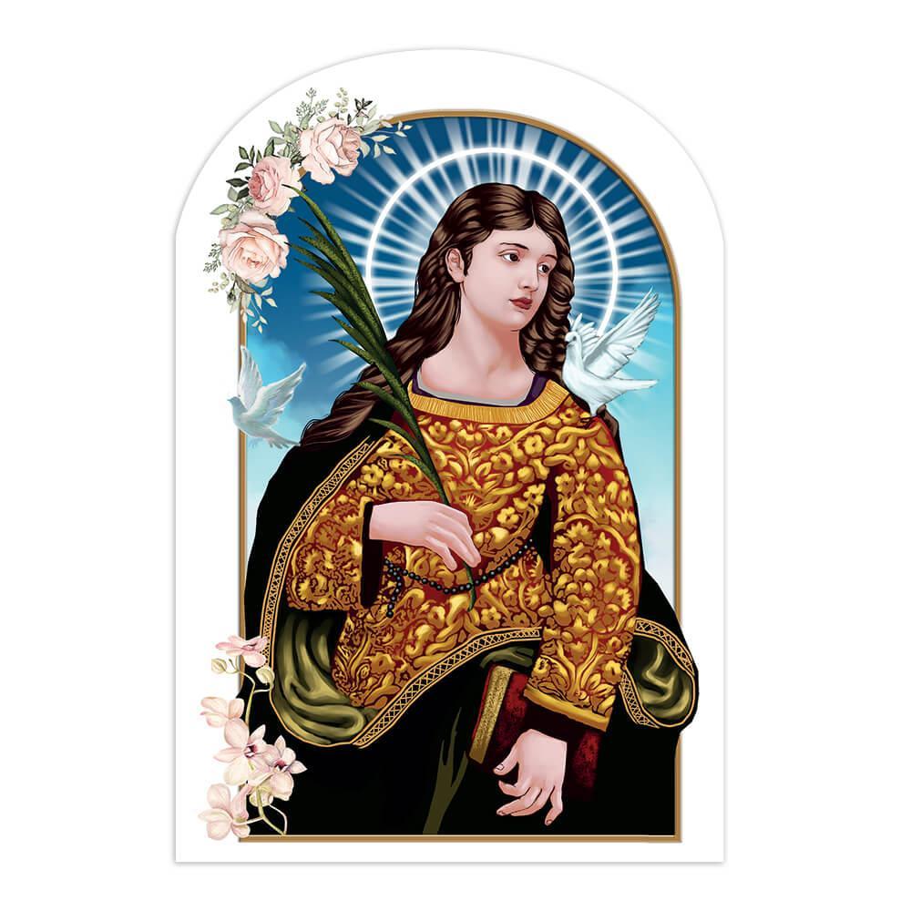 Saint Eulalia Of Merida : Gift Sticker Catholic Christian Palm Branch Doves Flower Religious