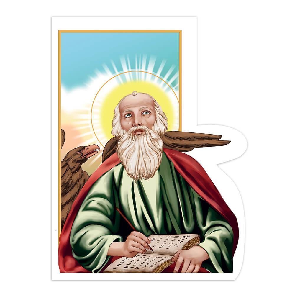 Saint John The Apostle : Gift Sticker Catholic Jesus Christian Eagle Book Religious