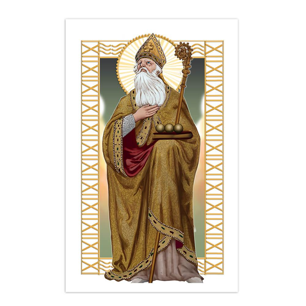 Saint Nicholas : Gift Sticker Catholic Church Wonderworker Christian Religious Staff