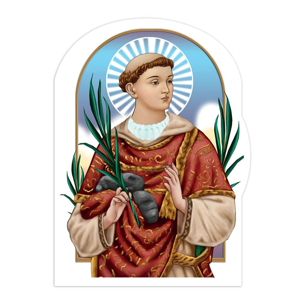 Saint Stephen : Gift Sticker Catholic Palm Branch Stones Christian Religious Martyr