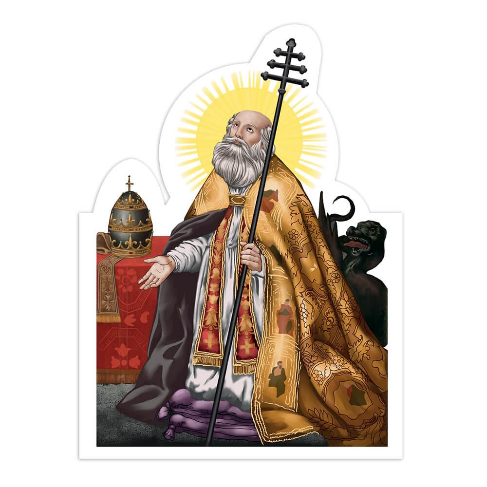 Saint Sylvester : Gift Sticker Catholic Italian Pope Roman Church Religious Staff Faith