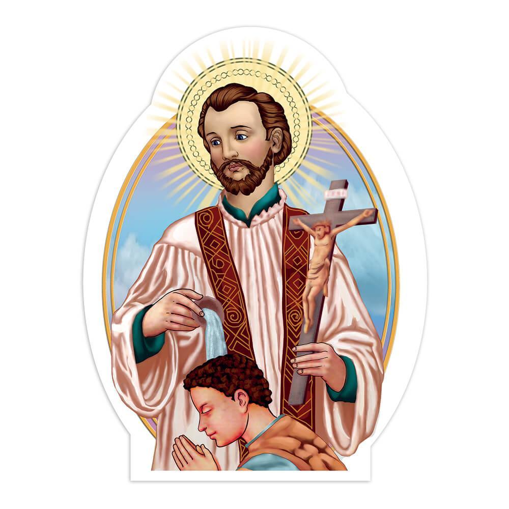 Saint Francis Xavier : Gift Sticker Catholic Christian Jesus Crucifix Baptism Religious