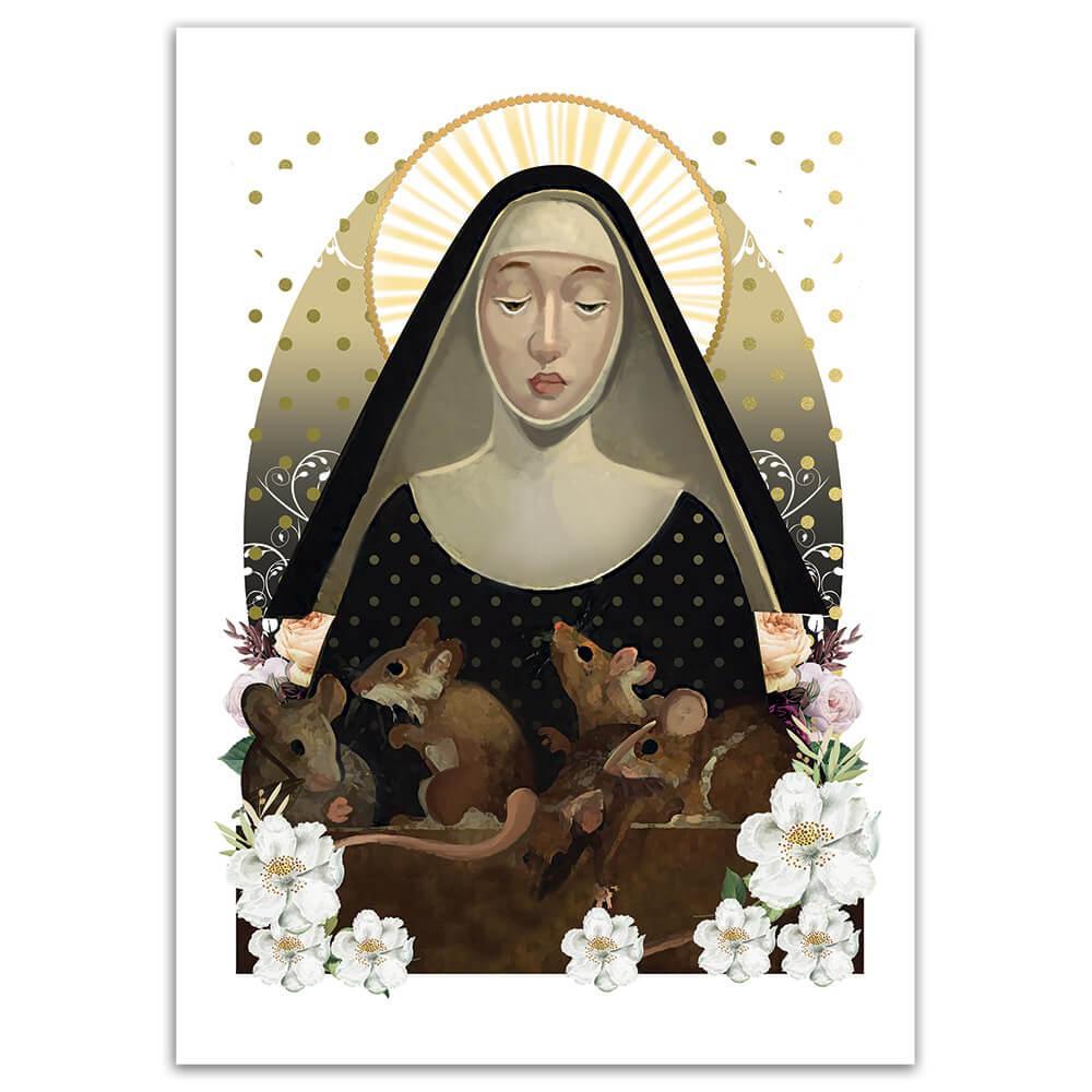 Saint Gertrudes Of Nivelles : Gift Sticker Catholic Church Rats Flowers Religious