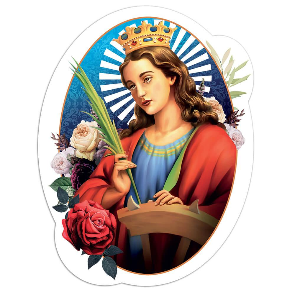Saint Catherine Of Alexandria : Gift Sticker Catholic Church Roses Christian Religious