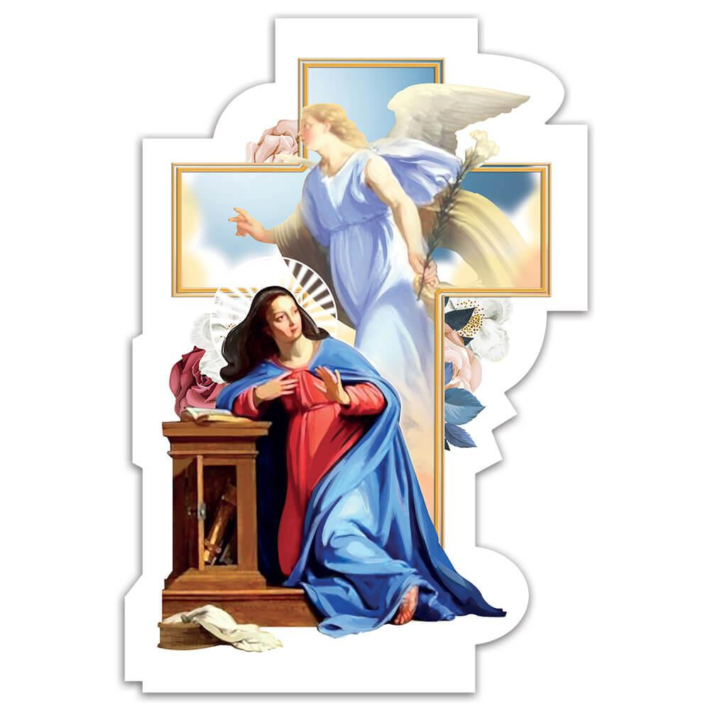 Our Lady Annunciation : Gift Sticker Virgin Mary Catholic Christian Church Archangel